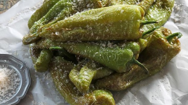 Fried green peppers and sea salt