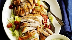 Roast chicken with tofu and avocado salsa.