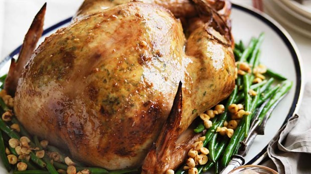 Neil Perry's roast turkey with ricotta stuffing and a side of green beans with hazelnuts.