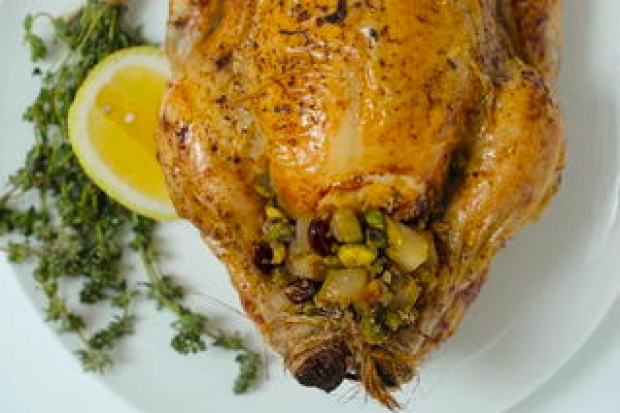A moist and golden chicken, packed with a fruity Christmas stuffing? Yes please! <a ...
