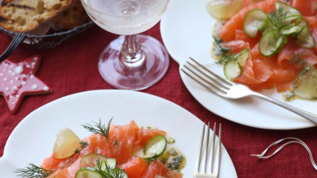 Smoked salmon with cucumber jelly.