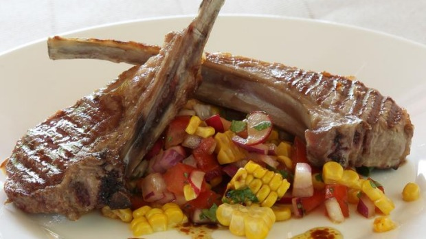 Corn, coriander and chilli salsa with lamb cutlets.
