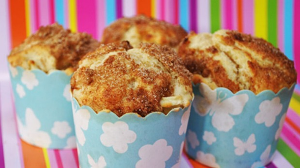High-top apple cinnamon muffins.