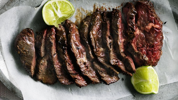Grilled skirt steak for tacos.