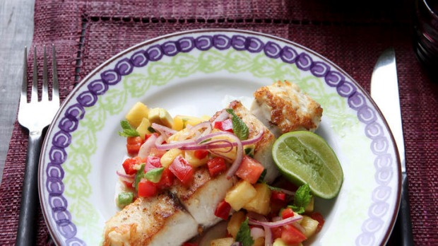 Barramundi with pineapple, chilli and mint salsa.