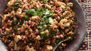 Freekah with cauliflower, pomegranate and mint. Caroline Velik ANCIENT GRAINS recipes for Epicure and Good Living. ...