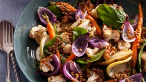 Warm roast veggie salad with lemony lentils. Jill Dupleix BREAKFAST recipes for Epicure and Good Living. Photographed by ...