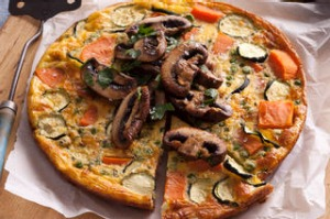 Sweet potato frittata with pan-roasted mushrooms. Jill Dupleix BREAKFAST recipes for Epicure and Good Living. ...
