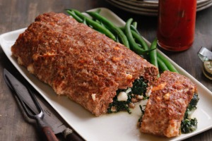 Roast meatloaf stuffed with spinach and mozzarella.