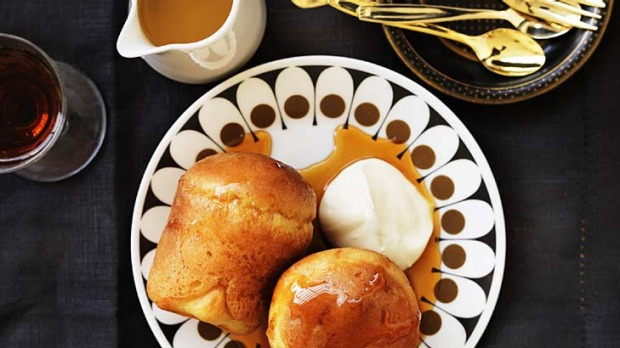 Rum babas with cream.