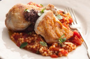 Pan fried chicken with fregola. Jill Dupliex FAST FOOD recipes for Epicure and Good Living. Photographed by Marina ...