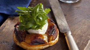 Caramelised shallot tart with goat's cheese & rocket. Recipes to celebrate 20 YEARS OF JEREMY BEING IN AUSTRALIA for ...