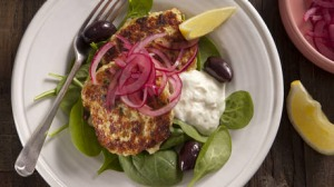 Chicken polpette with spinach and feta yoghurt. Jill Dupleix CHICKEN TONIGHT recipes for Epicure and Good Living. ...