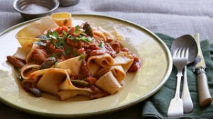 Pappardelle with rabbit ragu. Caroline Velik AUTUMN MENU recipes for Epicure and Good Living. Photographed by Marina ...