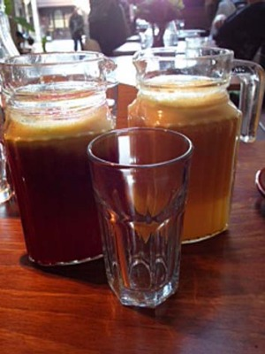 Dinky and delicious ... The juice jugs at Yoeni.