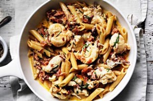 Penne with lobster and prosciutto.