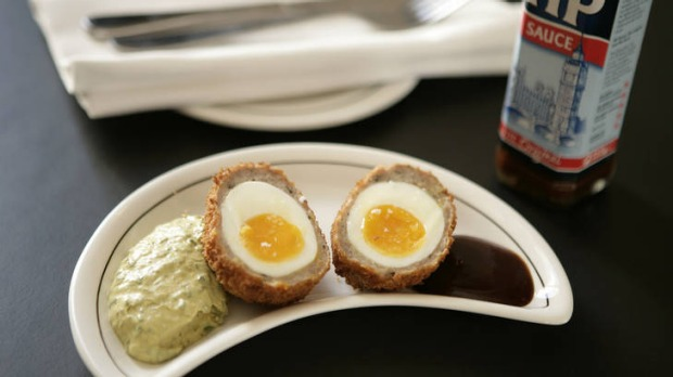 Pic shows the scotch eggs by Paul Wilson at the Middle Park Hotel for masterchef column. 24 February 2010. The Age ...