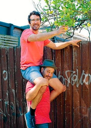 It's a dirty job, but ... The Little Veggie Patch Co founders Mat Pember (top) and Fabian Capomolla are branching out.