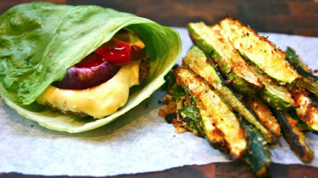 Lettuce wrap burgers with zucchini fries
