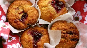 Raspberry Jam-drop Cornmeal Muffins
