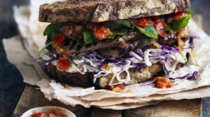 Food. Neil Perry's steak sandwich with coleslaw and tomato chilli relish.