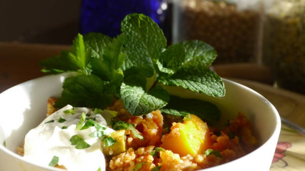 MamaBake's slow-cooked Moroccan vegetable couscous recipe (sidebar with story about Mamabake)