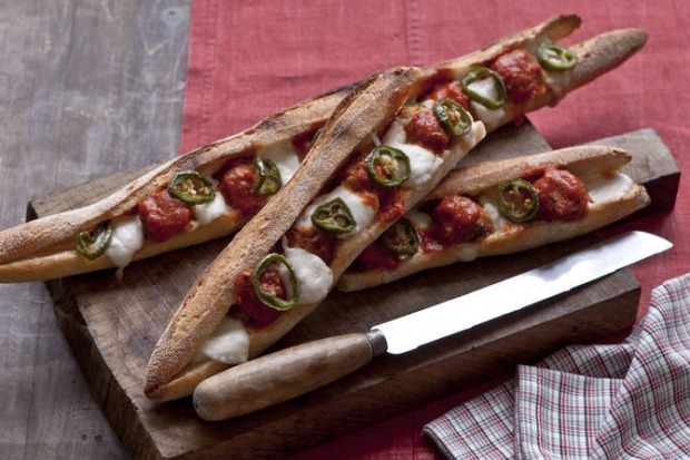 Make your own meatball sub: Karen Martini's polpetti, mozzarella and jalapeno baguettes <a ...