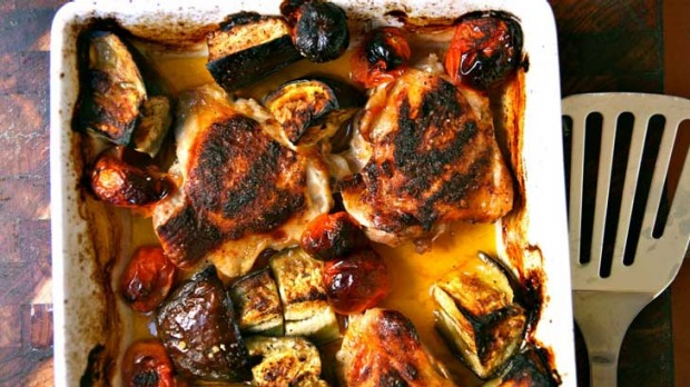 Paprika Chicken, Eggplant and Tomato Bake