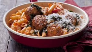 Veal and pork meatballs with tomato and oregano sugo.
