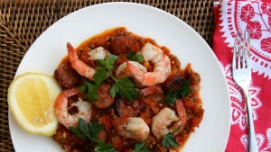 Spanish lentils with prawns and chorizo.