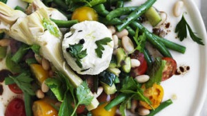 Neil Perry's salad of cannellini beans, zucchini and goat's cheese.