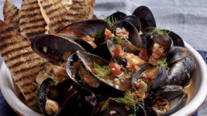 Karen Martini's mussels fried with tomato, black pepper and fennel seeds.