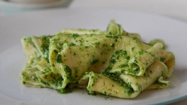 Home-made pasta made easy: Kate Gibb's pasta handkerchiefs with rocket.