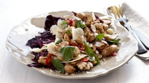 Healthy me: quick pickle of balsamic mushrooms with trevisio and parmagianno.