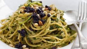Karen Martini's spaghettini of zucchini, mint, pine nuts and pecorino.