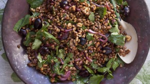 Karen Martini's salad of freekah with pickled red onion, fresh cherries toasted walnuts and mint.