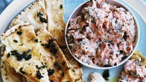 Neil Perry's smoked ocean trout dip with lemon thyme toast.