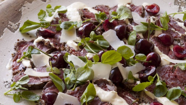 Caroline Velik's very cherry Christmas: Beef carpaccio with horseradish cream, remoulade and pickled cherries.