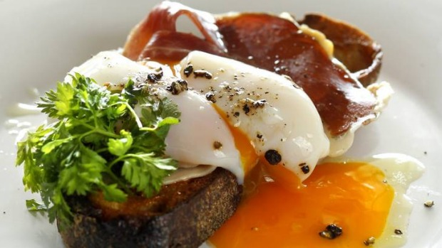 The 63 degree egg on toast with jamon.