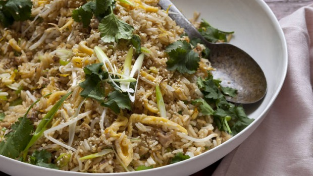 Chicken, ginger and egg fried rice.