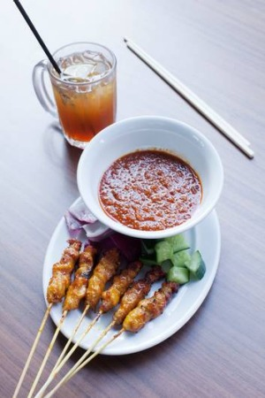Go-to dish ... chicken satay with spicy peanut sauce.