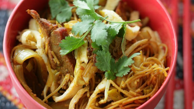 Singapore noodles. Caroline Velik CURRY recipes for Epicure. Photographed by Marina Oliphant. Food preparation and ...