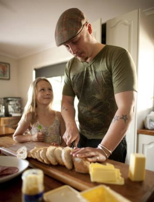 Chin Chin head chef Benjamin Cooper, at home in Warrandyte, prepares a 'toasted sandwich with the kids'.