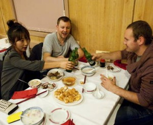 Chin Chin chef de partie Gemma Mikyeong Im, sous chef David Rodgers and junior sous chef Owen Quinn dine at Supper Inn.