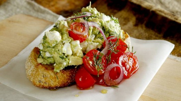 Get the F.A.T. ... feta, avocado and tomato on toast.