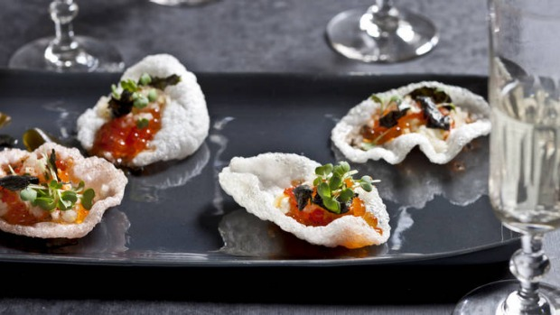 Prawn crackers with  caviar, hijiki seaweed, apple and roasted chili mayonnaise.