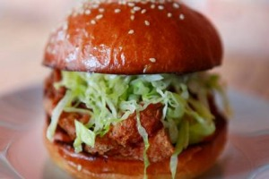The fried chicken sandwich at Rockwell & Sons, Collingwood.