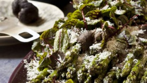 Grilled asparagus with sorrel with shaved black Australian truffle. Karen Martini CHRISTMAS recipes for Epicure and Good ...