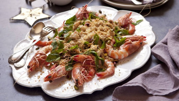 King prawn and quinoa salad with pistachios and mint.