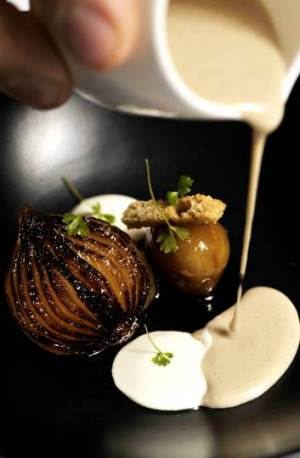 Chestnut soup with caramelised baby onion, creme fraiche and pedro ximinez glaze at Sage.